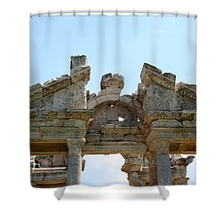 Carved Marble Of The Monumental Gate Shower Curtain by Tracey Harrington-Simpson