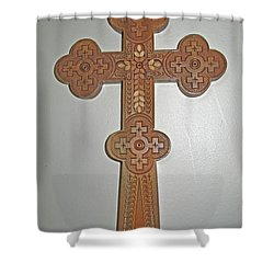 Carved Ukrainian Wooden Cross Shower Curtain by Barbara McDevitt
