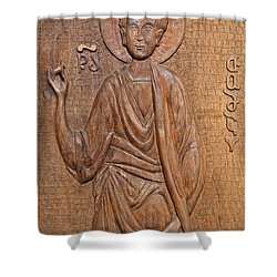 Carved Wooden Door At The Tsminda Sameba Cathedral Tbilisi Shower Curtain by Robert Preston