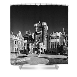 Casa Loma In Toronto In Black And White Shower Curtain by Les Palenik
