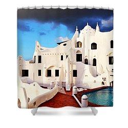 Casa Pueblo Al Mar Shower Curtain by Valerie Rosen