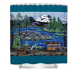 Cascade Lake Sparks Shower Curtain