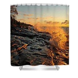 Cascade Sunrise Shower Curtain by Melissa Peterson