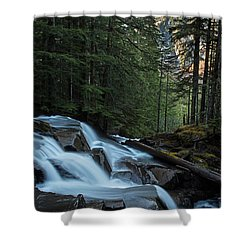 Cascading Mountain Falls Shower Curtain by Mike Reid