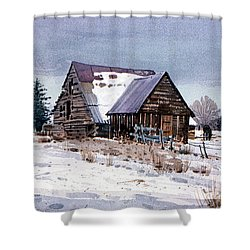 Shower Curtain featuring the painting Cache Valley Barn by Donald Maier