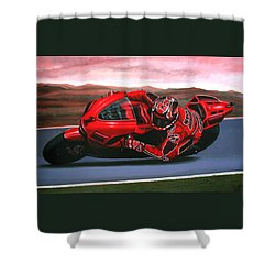 Casey Stoner On Ducati Shower Curtain