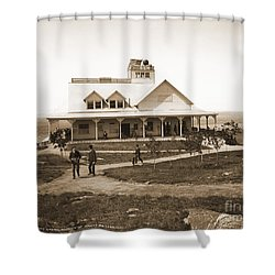 Casino At The Top Of Mt Beacon In Black And White Shower Curtain