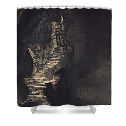 Casquets Lighthouse Shower Curtain by Victor Hugo