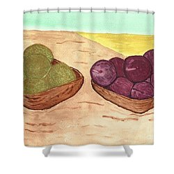 Shower Curtain featuring the painting Castaway Fruit by Tracey Williams