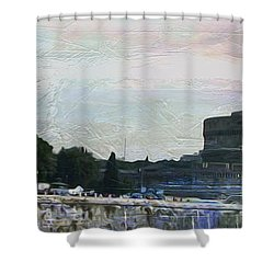Shower Curtain featuring the painting Castel Sant'angelo     by Brian Reaves