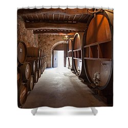 Castelle Di Amorosa Barrel Room Shower Curtain by Scott Campbell