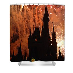 Shower Curtain featuring the photograph Castle Fire Show by David Nicholls