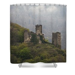 Castle In The Mountains. Shower Curtain