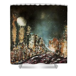 Castle Moonrise Shower Curtain by Kaye Miller-Dewing