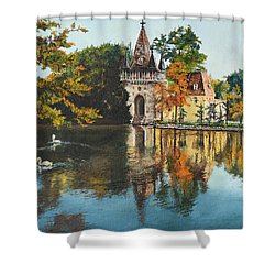 Shower Curtain featuring the painting Castle On The Water by Mary Ellen Anderson