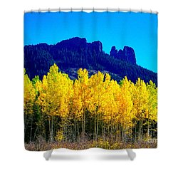 Autumn Castle Rock Aspens Shower Curtain