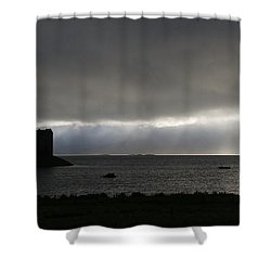 Castle Stalker Moody Panorama Shower Curtain by Gary Eason