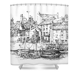 Shower Curtain featuring the drawing Castletown Harbour by Paul Davenport
