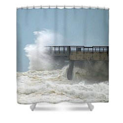 0828 Cat 1 Hurricane Isaac Crashes Into Navarre Beach Pier Shower Curtain by Jeff at JSJ Photography