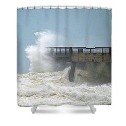 0828 Cat 1 Hurricane Isaac Crashes Into Navarre Beach Pier Shower Curtain