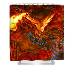 Shower Curtain featuring the digital art Cat And Caduceus In The Matmos by Richard Thomas