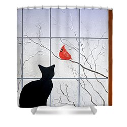 Cat And Cardinal Shower Curtain