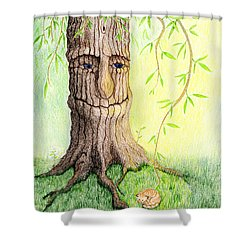Cat And Great Mother Tree Shower Curtain by Keiko Katsuta