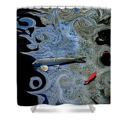 Cat And Koi Blue Shower Curtain by Lesa Fine