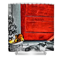 Cat By The Red Door Shower Curtain