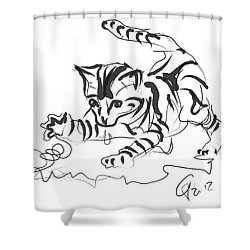 Cat- Cute Kitty  Shower Curtain by Go Van Kampen