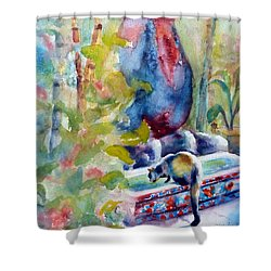 Cat Drinking Fountain Shower Curtain