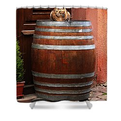 Cat Guarding A Wine Barrel In Alsace Shower Curtain by Greg Matchick