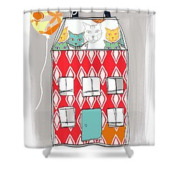 Cat House Shower Curtain by Linda Woods