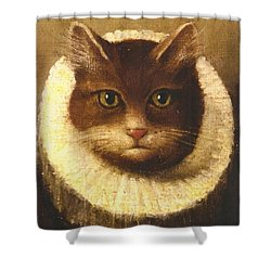 Cat In A Ruff Shower Curtain by Vintage Art