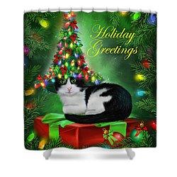 Cat In Christmas Tree Hat Shower Curtain by Carol Cavalaris
