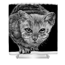 Cat In Glasses  Shower Curtain