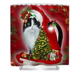 Cat In Long Santa Hat Shower Curtain by Carol Cavalaris