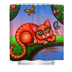 Cat In Reflection Shower Curtain