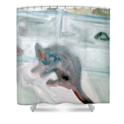 Cat In The Garage On A Mat Shower Curtain