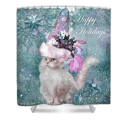 Shower Curtain featuring the mixed media Cat In The Snowflake Santa Hat by Carol Cavalaris