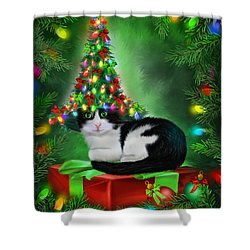 Shower Curtain featuring the mixed media Cat In Xmas Tree Hat by Carol Cavalaris