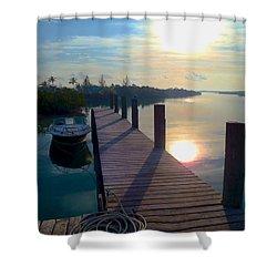 Cat Island Dock Shower Curtain by Carey Chen