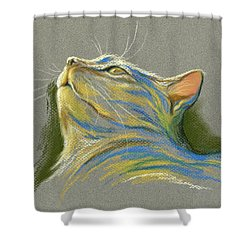 Cat Looking Up To Heaven Shower Curtain