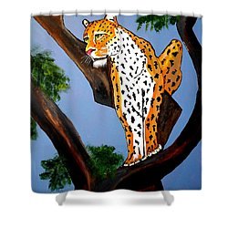 Cat On A Hot Wood Tree Shower Curtain by Nora Shepley