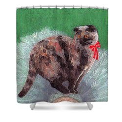 Cat On Christmas Tree Shower Curtain