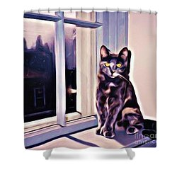 Cat On Window Sill Shower Curtain by John Malone