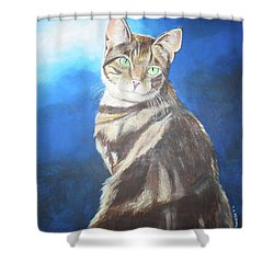 Cat Profile Shower Curtain by Thomas J Herring