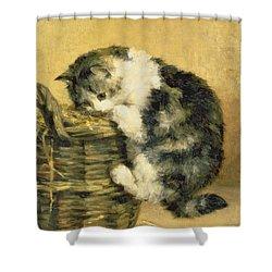 Cat With A Basket Shower Curtain by Charles Van Den Eycken