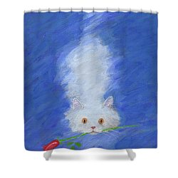 Cat With A Rose Shower Curtain