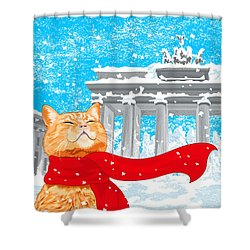 Cat With Scarf Shower Curtain by Carolina Matthes